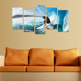 HD PRINTED SURFING UNDER GREAT WAVE 5 PIECE CANVAS - Surf Sun Sea