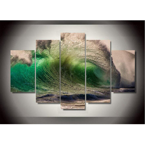 HD PRINTED GREEN SEA WAVES 5 PIECE CANVAS - Surf Sun Sea