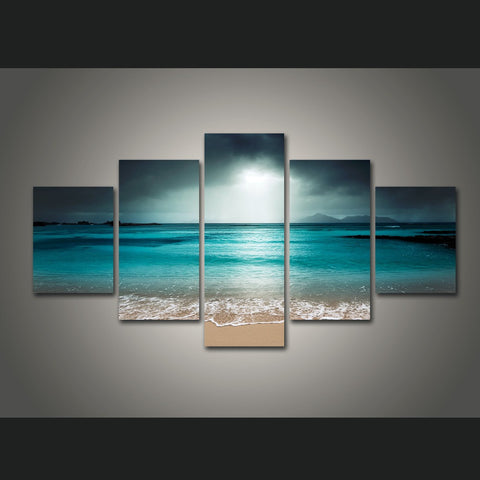 HD PRINTED LANDSCAPE WITH BEACH PORTRAIT 5 PIECE CANVAS - Surf Sun Sea
