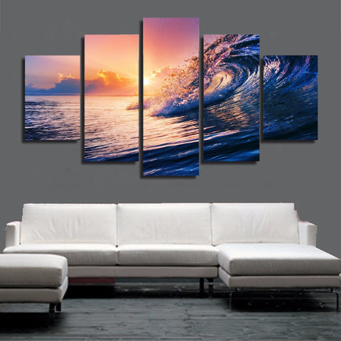 HD PRINTED OCEAN WAVE BLUE SEA SKY 5 PIECE CANVAS - Surf Sun Sea