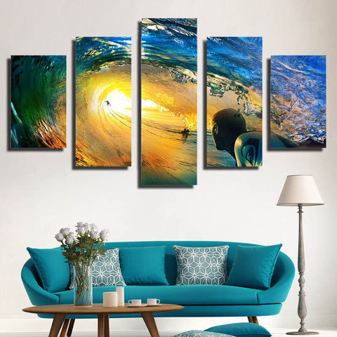 HD PRINTED SEA OF WAVE SURFING 5 PIECE CANVAS - Surf Sun Sea