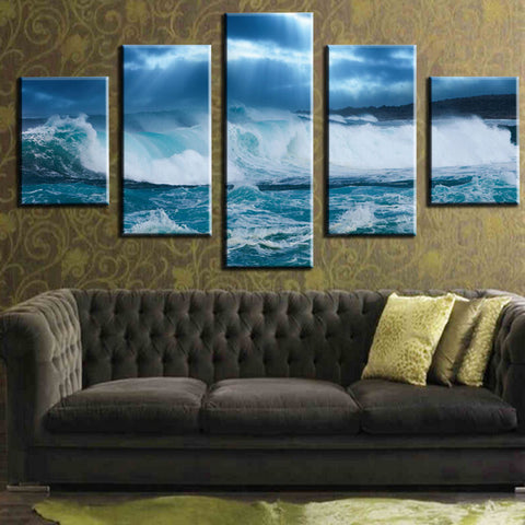 HD PRINTED SEA WAVE 5 PIECE CANVAS - Surf Sun Sea