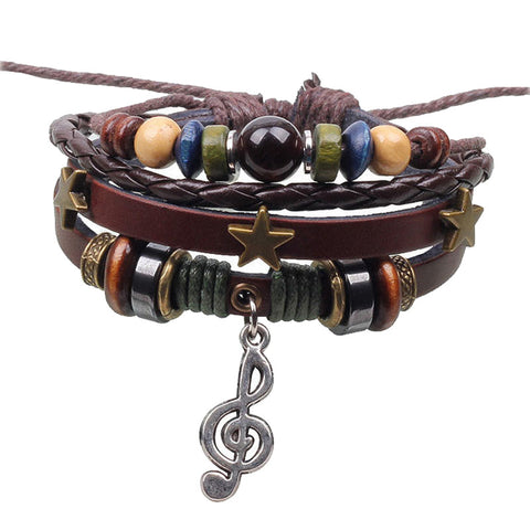 Music Charm Handmade Adjustable Bracelet - Surf Sun Sea