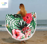 Beautiful Sunbathe Round Beach Blanket/Towel - Surf Sun Sea