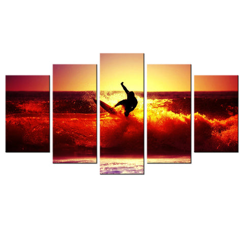 HD PRINTED  SURFING ON RED WAVES AT SUNSET 5 PIECE CANVAS - Surf Sun Sea