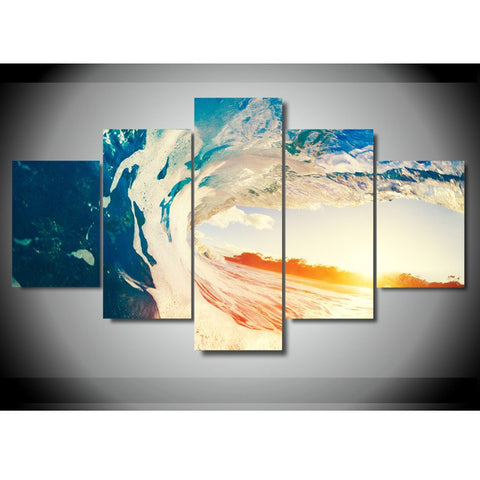 HD PRINTED OCEAN WAVE 5 PIECE CANVAS - Surf Sun Sea
