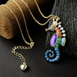 Sea Horse Long Necklace - Surf Sun Sea