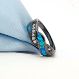 Black Wave Cocktail Ring for Women - Surf Sun Sea