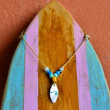 Surfboard shape shell graved necklace - Surf Sun Sea
