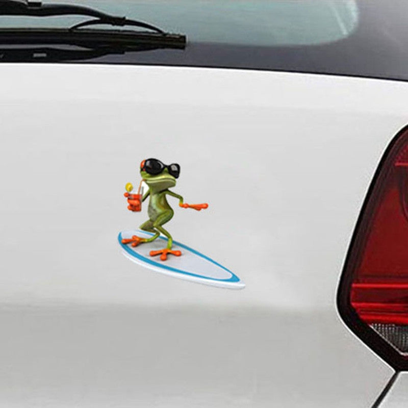 3D Surfing Funny Car Sticker - Surf Sun Sea