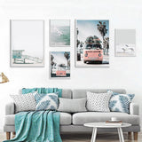 Modern Sea Beach Bus Wall Art Canvas Decoration Posters - Surf Sun Sea