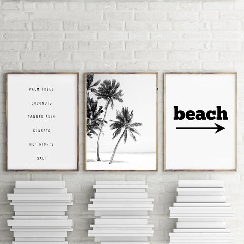 Black and White Beach Canvas Painting - Surf Sun Sea