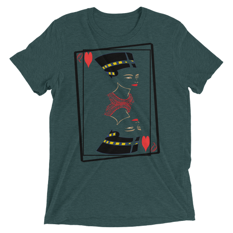 Nefertiti Queen of Hearts Heather Triblend Short Sleeve T-Shirts