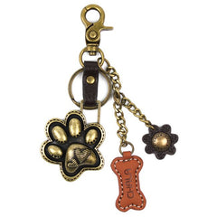 Chala Paw Print - Bronze Bone Charming Key Chain Flower Dog Mom Pet Mom