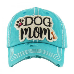 DOG MOM | Factory Distressed Vintage  Women's Cap Patch-Embroidery Hat Baseball - NoveltyGal