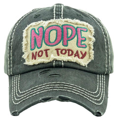 Baseball Cap Adjustable Nope Not Today Christian Hat Womens Lady Distressed Vintage Look