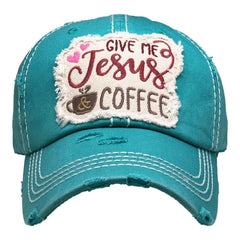 Baseball Cap Adjustable Give Me Jesus and Coffee Womens Lady Distressed Vintage Look