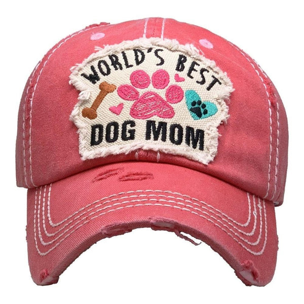 Baseball Cap Adjustable Worlds Best Dog Mom Womens Lady Distressed Vintage Look