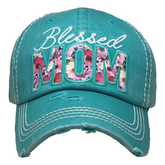 Blessed Mom Christian | Mothers Day | Factory Distressed Vintage  Women's Cap Patch-Embroidery Hat Baseball