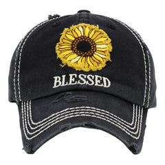 Baseball Cap Adjustable Sunflower Blessed Christian Sunny Beach Cap Hat Womens Lady Distressed Vintage Look