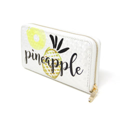 Women Novelty Pineapple Fruit wallet credit card holder with Pineapple print  Long Wallet Cell Phone Holder