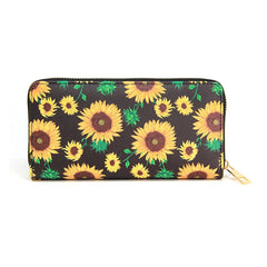 Women Novelty Sunflower Print wallet credit card holder with Sunflower print  Long Wallet Cell Phone Holder