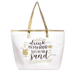LARGE SUMMER DRINK IN MY HAND TOES IN THE SAND LARGE BEACH BAG TOTE GOLD SUMMER - NoveltyGal