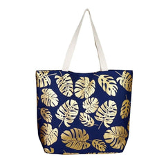 LARGE METALLIC CANVAS PALM LEAF TOTE BAG LARGE BEACH BAG TOTE GOLD SUMMER