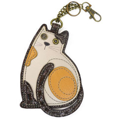 Chala Lazy Cat White  Brown Key Chain - Coin Purse - Cat Lovers - Cat Mom