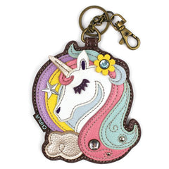 Chala Unicorn Pink White  Brown Key Chain - Coin Purse - Unicorn Lovers - Pet Mom