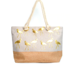 LARGE GOLD FLAMINGO WOMEN TOTE BAG LARGE BEACH BAG TOTE GOLD SUMMER - NoveltyGal