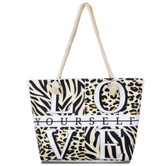 """Love Yourself"" Animal Print Large Tote Bag Women Summer Tote Bag Large Beach"