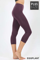 PLUS WOMEN LADIES PURPLE COTTON CAPRI LEGGINGS