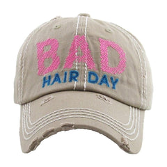 Womens Bad Hair Day Trucker Cap Baseball Cap Hat Embroidery Vintage