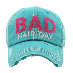 Bad Hair Day | Factory Distressed Vintage  Women's Cap Patch-Embroidery Hat Baseball - NoveltyGal