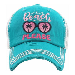 Summer Beach Embroidery Please Distressed Vintage Women's Cap Hat Baseball Cap