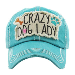 Crazy DOG MOM | Factory Distressed Vintage  Women's Cap Patch-Embroidery Hat Baseball - NoveltyGal
