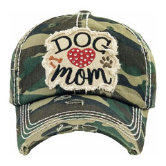 DOG MOM | Factory Distressed Sequin Vintage Women's Cap Patch-Embroidery Hat Baseball