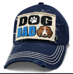 MEN DAD DOG NAVY BLUE DISTRESSED EMBROIDERY CAP BASEBALL BUCKLE ADJUSTABLE