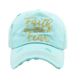 Faith Over Fear Trucker | Factory Distressed Vintage  Women's Cap Patch-Embroidery Hat Baseball