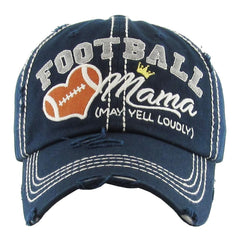 Football Mama Distressed Red Navy Vintage NBA NCAA Blue Women Hat Baseball Cap - NoveltyGal