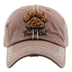 Fur Mom Paw | Factory Distressed Vintage  Women's Cap Patch-Embroidery Hat Baseball - NoveltyGal