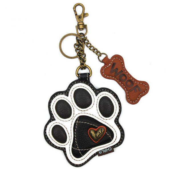 Chala Dog Paw Print Black White Key Chain - Coin Purse - Dog Lovers - Dog Mom