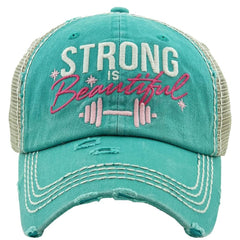 Baseball Cap Adjustable Strong is Beautiful Hat Womens Lady Distressed Vintage Look