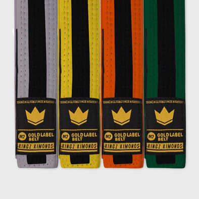 Kingz Gold Label V2 Kids Belt - Black Stripe - Fighters Market
