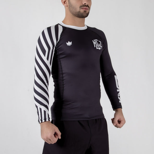 Kingz KGZ Ranked Rashguard- white diagonal facing