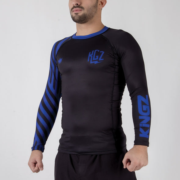 Kingz KGZ Ranked Rashguard- blue sidewasy facing