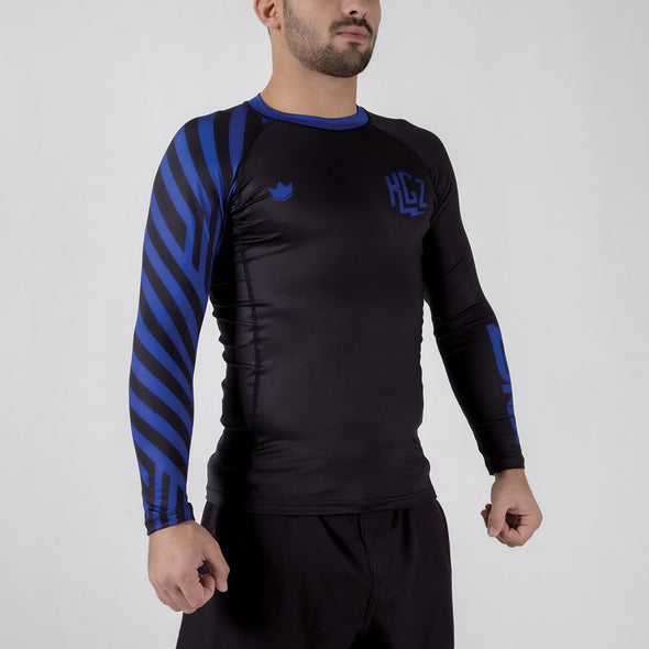 Kingz KGZ Ranked Rashguard- blue diagonal facing