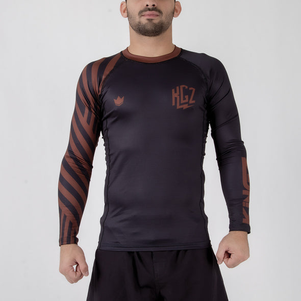 Kingz KGZ Ranked Rashguard- brown forward facing