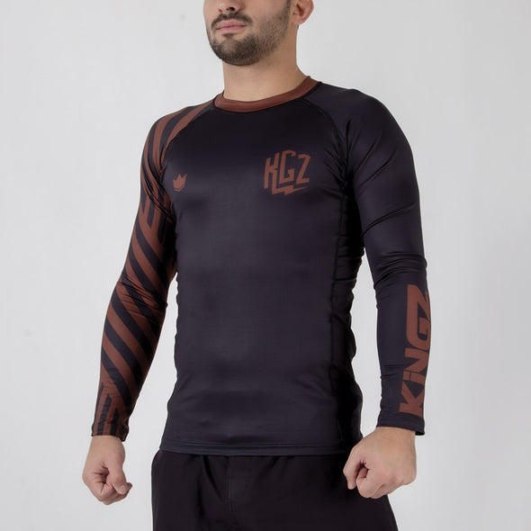 Kingz KGZ Ranked Rashguard- brown side facing